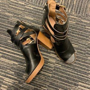 """Black peep toe sandal with 3 1/2"""" heel"""